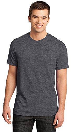 - District Young Mens Gravel 50/50 Notch Crew T-Shirt, Charcoal Gravel, X-Small