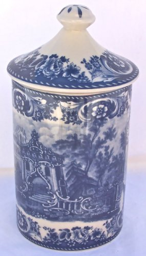 Blue French Toile Canister with Fresh Lock Lid