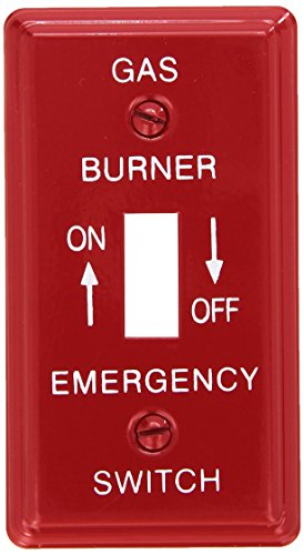 Emergency Metal Switch Plates - Morris 83495 Emergency Metal Switch Plate, Utility Gas, Red