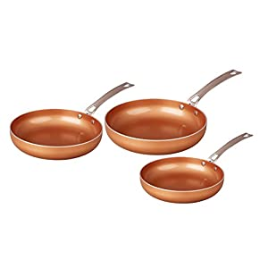 CONCORD 3 Piece Ceramic Coated -Copper- Frying Pan Cookware Set 2017 BESTSELLER (Induction Compatible)