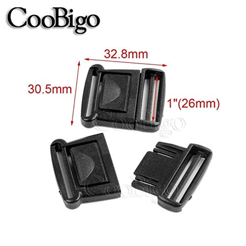 5pcs Black Plastic Center Side Release Buckle 25mm 32mm 38mm Outdoor Tatical Backpack Sports Luggage Bags Parts PP Band Strap (25mm) ()