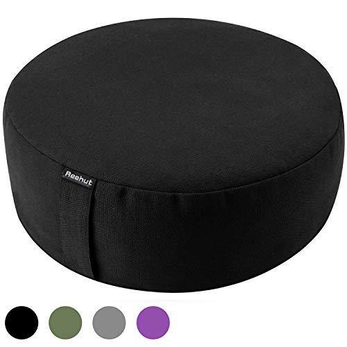 REEHUT Zafu Yoga Meditation Bolster Pillow Cushion Filled with Buckwheat - Round Organic Cotton or...