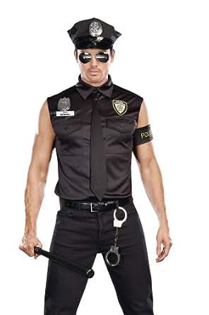 Dreamgirl Men's Dirt Cop Officer Ed Banger Costume, Black, Medium