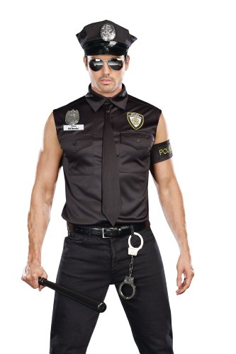 (Dreamgirl Men's Dirt Cop Officer Ed Banger Costume, Black,)