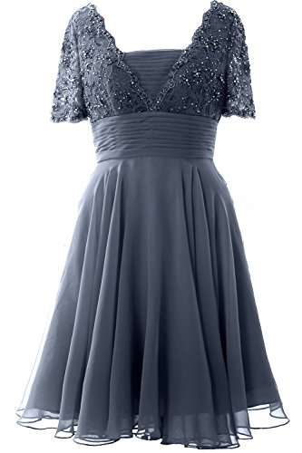 of Formal Bride Dress Short Steel Lace Elegant Gown the MACloth Cocktail Blue Sleeve Mother vZFIw0Yq