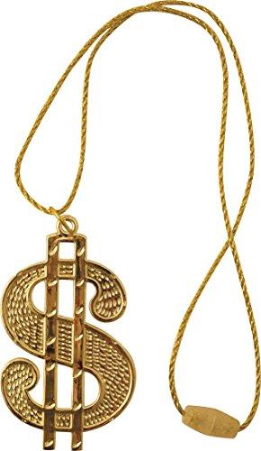 Adult Fancy Party Costume Gangster Rapper String Cord Dollar Medallion (Ali G Fancy Dress Costume)