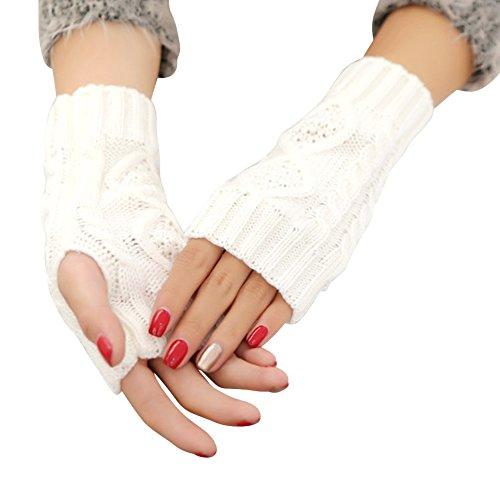 Women's Crochet Fingerless Gloves Hand Knit Fleece Winter Arm Warmers - Wiki Triathlon