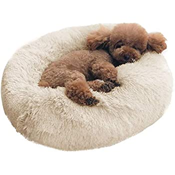 BinetGo Dog Bed Cat Bed Cushion Bed Faux Fur Donut Cuddler for Dog and Cat Joint-Relief and Improved Sleep - Machine Washable, Waterproof Bottom (Medium, Beige)
