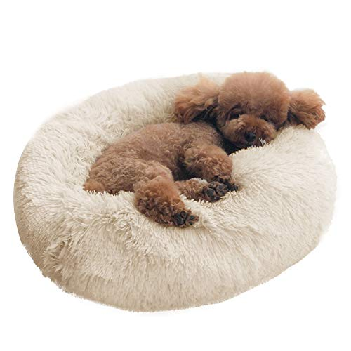 Dog Bed Cat Bed Cushion Bed Faux Fur Donut Cuddler Self-Warming Cat and Dog Bed Cushion for Joint-Relief and Improved Sleep - Machine Washable, Waterproof Bottom 18 x 18 x 5.5-Inch (Beige)