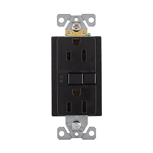 Eaton GFCI Self-Test 15A -125V Duplex Receptacle with Standard Size Wallplate, Black