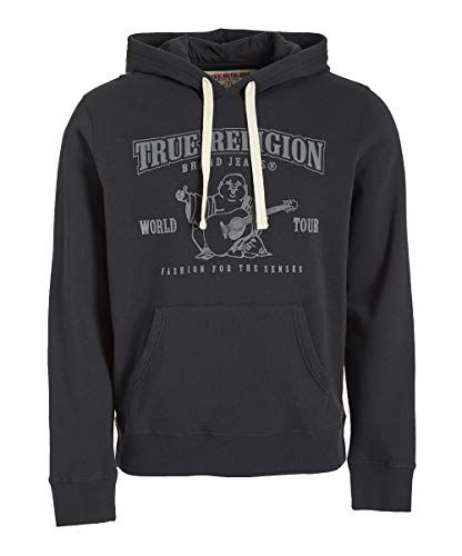 True Religion Men's Buddha Logo Pullover Hoodie Sweatshirt (X-Large, Black) (Mens Buddha Sweatshirt)