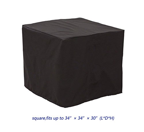 soldbbq 34'' L x 34'' D x 30'' H,Outdoor Square Black Air Conditioner Cover,or for Barbecue Grills Cover,Durable and Water Resistant by soldbbq