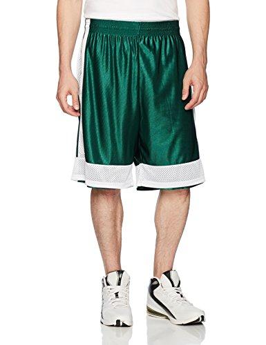2014 Basketball Shorts - Intensity Men's Two Way Basketball Shorts, Dark Green/White, Large