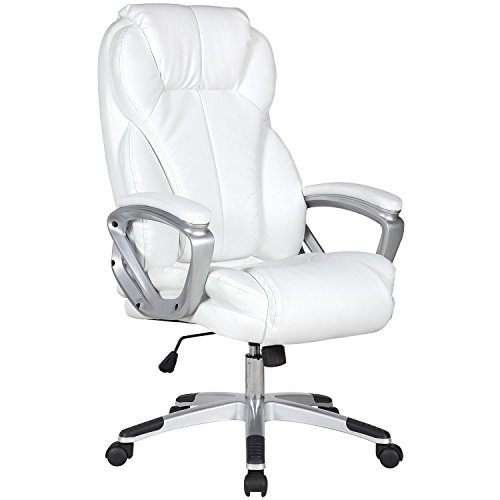 Executive Manger PU Leather Office Chair WHITE High Back Desk Conference Room by Tamsun (Image #1)