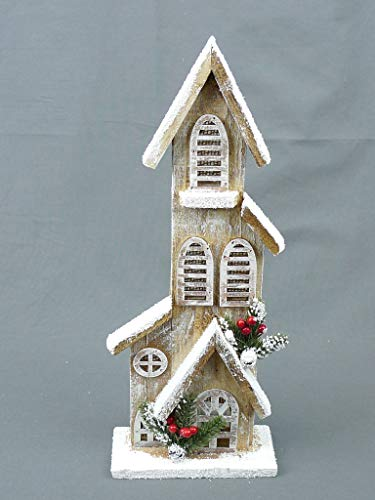 Christmas Snowy LED-Lit Hand-Painted Houses, Barn, and Church Buyers Choice! (Non-Painted Natural, 16