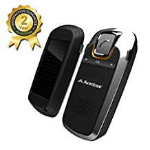 [2 Year Warranty] Avantree Bluetooth Car Kit with Solar Charging for Handsfree Call, GPS and Music, Wireless Visor Speakerphone, Connect Two Phones