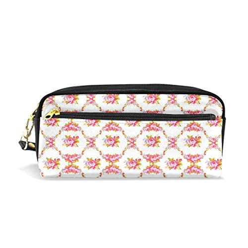 - Tiffany N WhitneyRG Curvy Borders Rose Blooms Retro Flora Waves Garland Makeup Bag, Portable Ladies PU Travel Cosmetic Pouch Makeup Clutch Pouch Cosmetic and Toiletries Organizer Bag
