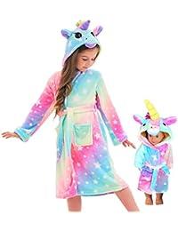 Unicorn Hooded Bathrobe Sleepwear Matching Doll & Girls Gifts (Rainbow Star, 6-7 Years)