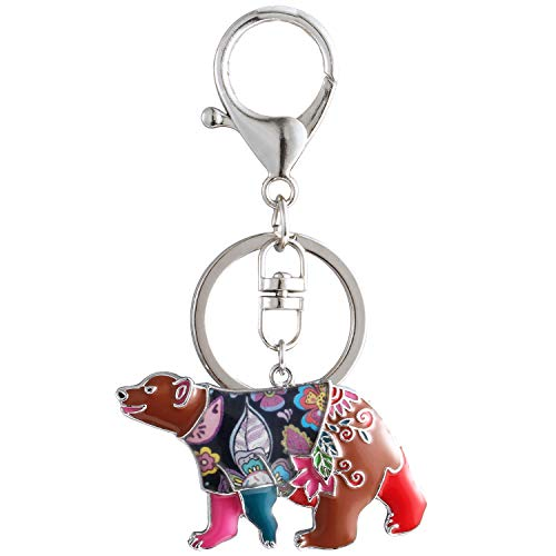 Bear Enamel Key Ring - Luckeyui Multicolor Bear Keychain Women Unique Enamel Cute Polar Bear Keyring Gift