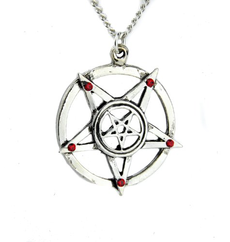 YDS Accessories Ritual Inverted Pentagram Necklace with Red Stones Alternative Occult Jewelry -