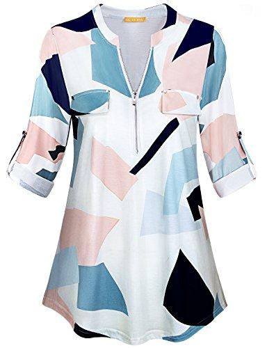fe0c75084d4 YaYa Bay Women s Notch-V Neck Long Sleeve Roll-Up Sleeve Zip Up Casual