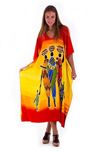 (SHU-SHI Womens Long Caftan Dress Kimono Tribal Design Swimwear Cover Up Kaftan)