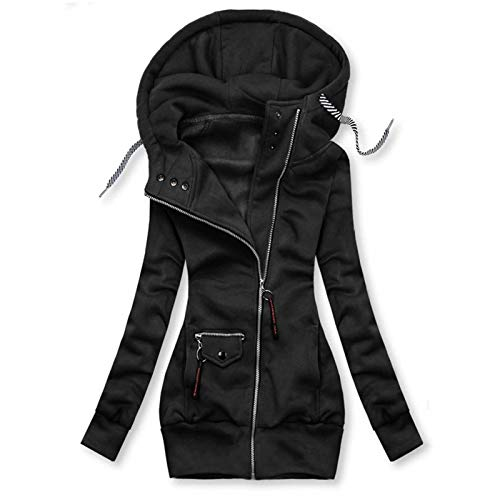 BiuBuy Winter Warm Long Jacket Zip Up Coat Womens Hooded Parka Overcoat Solid Drawstring Outwear Black