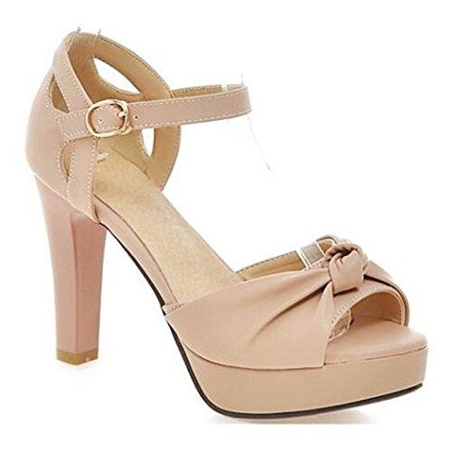 Summerwhisper Womens Sweet Bowknot Peep Toe Ankle Strap Chunky High Heel Platform Sandals Pink 10 5 B M  Us