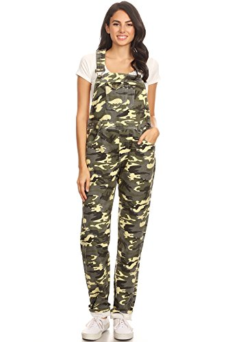 Anna-Kaci Womens Vintage Wash Straight Leg Denim Overalls with Pocket Bib, Green Camouflage, Large/X-Large