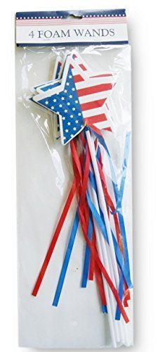 Holiday Patriotic Red White Blue Star Foam Wands - 4 Count