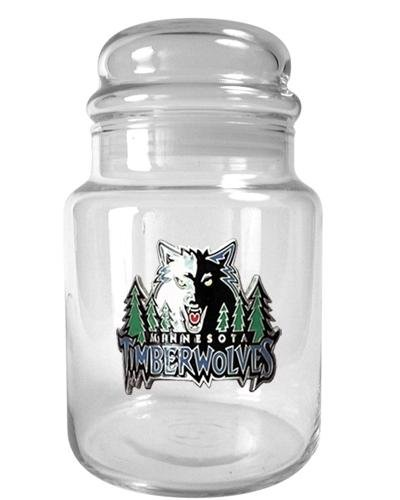 NBA Minnesota Timberwolves 31-Ounce Glass Candy Jar - Primary Logo (Bulk Candy Jars)