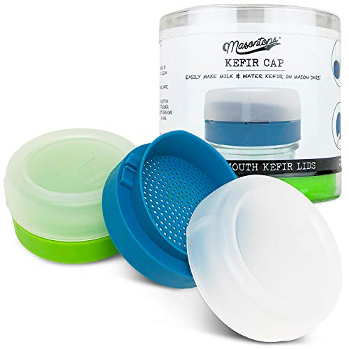 Masontops Kefir Caps - Wide Mouth Mason Jar Lids - Live Culture Grains Strainer - Home Fermentation Starter Kit - 2 Pack