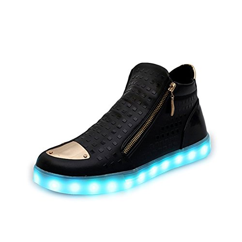 Light sexphd Sneakers USB Trainers Black Birthday High Top Charging Unisex Men up Gift Women Shoes LED wIvIfrqC