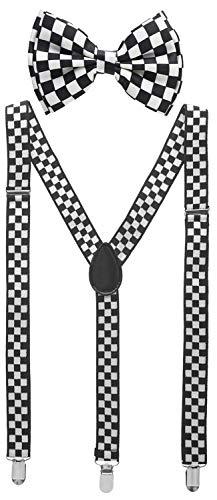 Man of Men - Men's Black & White Checkered Bowtie & Suspender Set (Boys Checkered Suspenders)