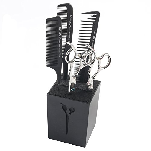 OLizee Professional Acylic Salon Scissors Holder Box Hairdressing Combs Clips Organizer Rack for Hair - Shear Block