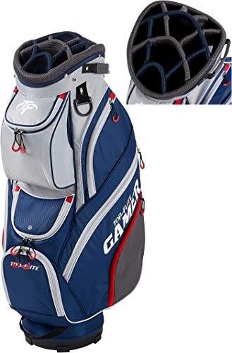 2019 Top-Flite Gamer Golf Cart Bag 14-Way Top 9 Pockets Mesh Carry Strap Beverage Cooling (Gray/Navy/Red)
