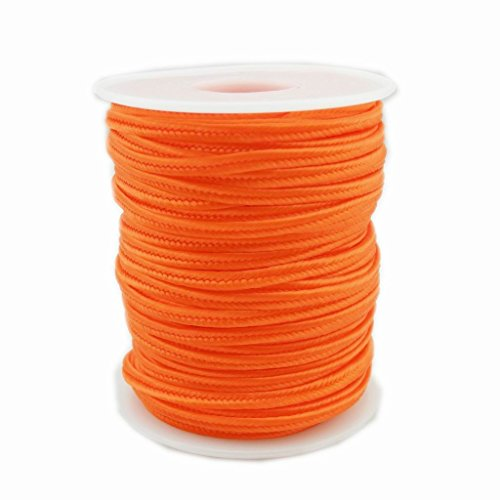 3x1mm Flat Chinese Soutache Snake Belly Nylon Rope Cord DIY Jewelry Material Accessories - 30m per spool (Tangerine) (Tangerine Snake)