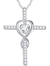 Love Heart Infinity God Cross Necklace Jewelry Birthday Anniversary Gift for Women for Her Dorella