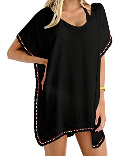 Yincro Women Chiffon Tassel Beach Bathing Swimsuit Cover ups (Size A(Fit US S-M), (Womens Swimsuit Cover)