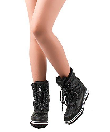 RF ZIMMER DER MODE Frauen Mid Kalb Arctic Warmer Pelz gefüttert Quilting Decor Wasserabweisend Eskimo Ankle High Snow Boots Schwarz - Gestepptes Muster