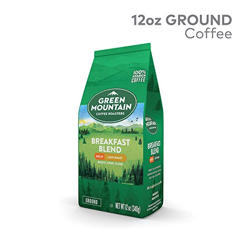 Green Mountain Coffee Breakfast Blend Decaf, Ground Coffee, Decaffeinated, Light Roast, Bagged 12oz.