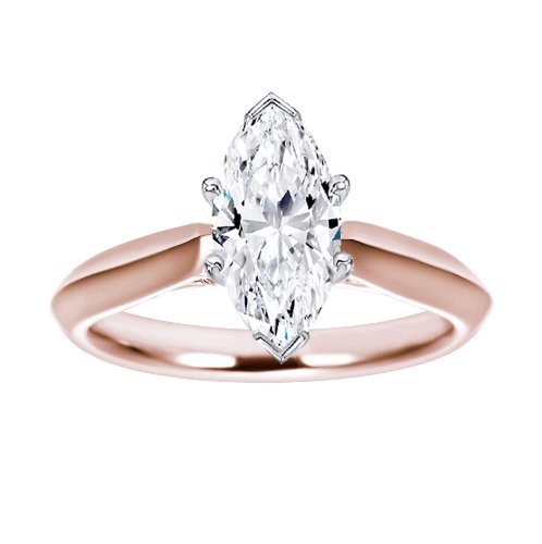 0.95 Carat Near 1 Carat Marquise Shape 14K Rose Gold Solitaire Diamond Engagement Ring
