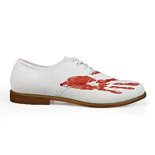 Horror Stylish Leather Shoes,Handprint Like Wanting Help Halloween Horror Scary Spooky Flowing Blood Themed Print for Men,US -
