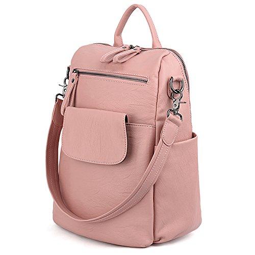 UTO Women Backpack Purse 3 ways PU Washed Leather Ladies Rucksack Shoulder Bag B Pink]()