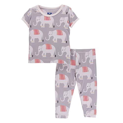 (Kickee Pants Little Girls Print Short Sleeve Pajama Set - Feather Indian Elephant, 10 Years)