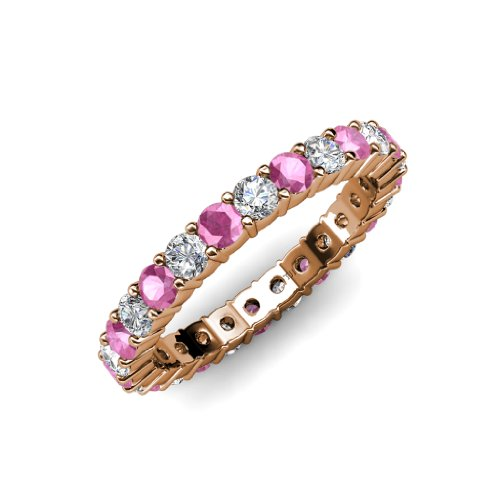 Pink Sapphire and Diamond Common Prong Eternity Band 2.05 ct tw to 2.46 ct tw in 14K Rose Gold.size 8.5 (Tw 2ct Band Diamond Eternity)