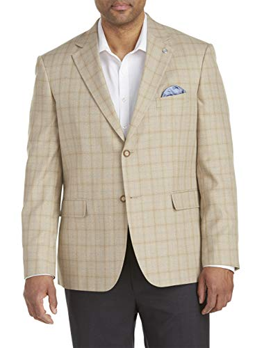 Oak Hill by DXL Big and Tall Jacket Relaxer Deco Plaid Sport Coat Tan