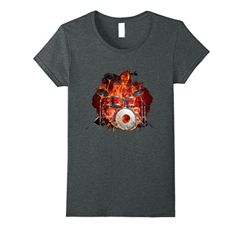 [Women's Flaming Skeleton on the Drums Small Dark Heather] (Flaming Skeleton)