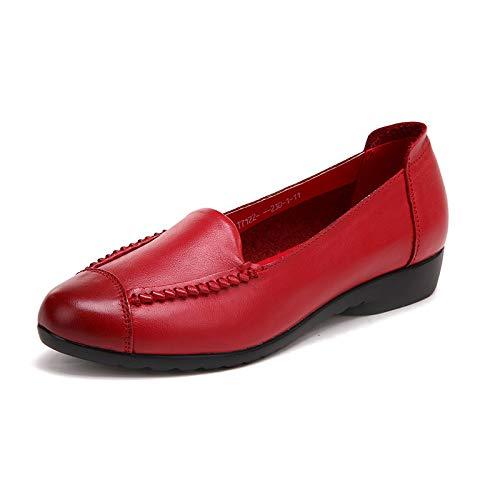 FLYRCX Zapatos Planos cómodos de la Parte Posterior Suave de Cuero Retra de la Primavera y del otoño Solos Zapatos Ocasionales de los Zapatos del Trabajo de los Zapatos red