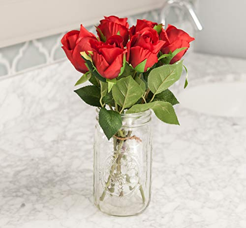 (Moby Goods - 6 Premium Artificial Silk Roses in Red for Decorating, Weddings, Bouquets, Centerpieces)